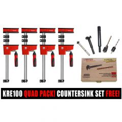 Bessey K Body KRE100 1000/95 Quad Pack | 7 Piece Drill Countersink/Forstner Bit Set FREE