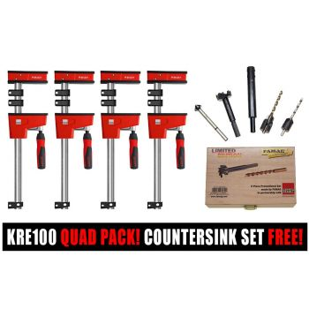 Bessey K Body KRE100 1000/95 Quad Pack   7 Piece Drill Countersink/Forstner Bit Set FREE